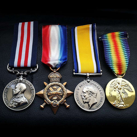 4x Group Set Military Medal , 1914 - 15 Star , British War & Victory Medal Repro