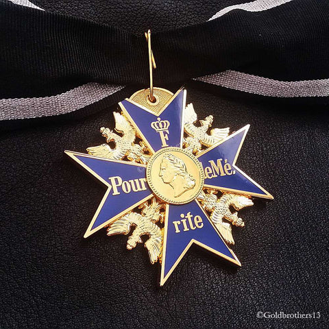 GRAND Pour Le Merite 24k Gold Plated Cross Medal Blue Max Highest Honor Repro