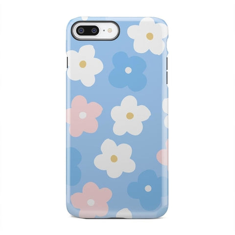White Pink And Blue Cute Spring Flowers iPhone X - Intrepid Soul