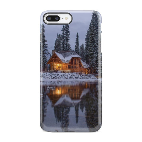 Winter Cabin Snow Lake Island Frozen iPhone X Case - Intrepid Soul