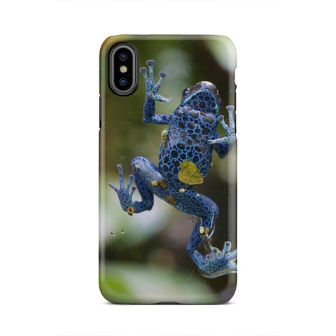 Blue Polka Dot Frog Stuck To Glass iPhone X Case - Intrepid Soul