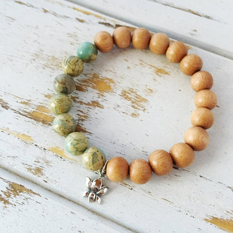 Image of I Am Worthy Bracelet, Aqua Terra Jasper & Rosewood - Intrepid Soul