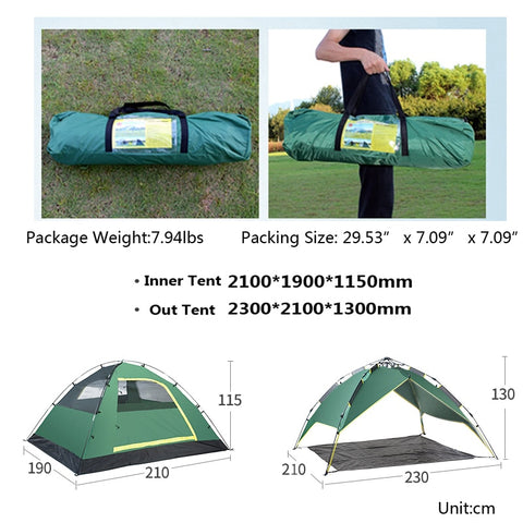 3 / 4 Person Automatic Camping Tent Beach Tent Two-layer