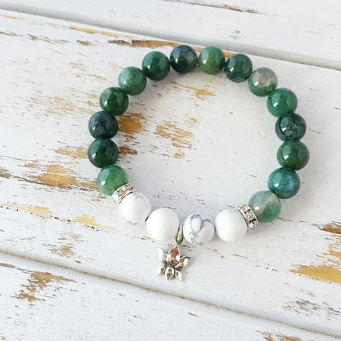 I Am Balanced and At Peace, Moss Agate & White - Intrepid Soul