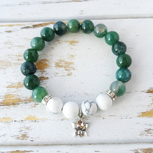 Balanced and At Peace, Moss Agate & White