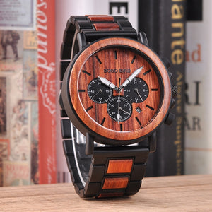 Business Men Metal Wood Chronograph