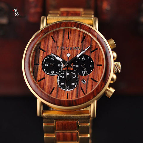 Image of Gold Watch Men Luxury Brand Wooden - Intrepid Soul