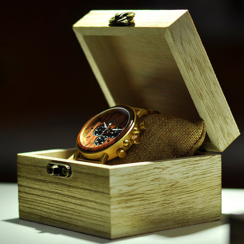 Gold Watch Men Luxury Brand Wooden - Intrepid Soul