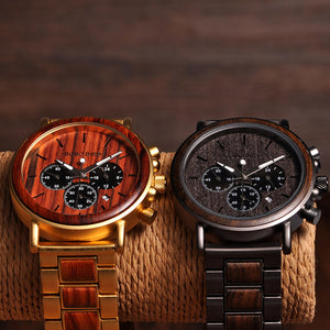 Wooden Luxury Mens Gold Watch