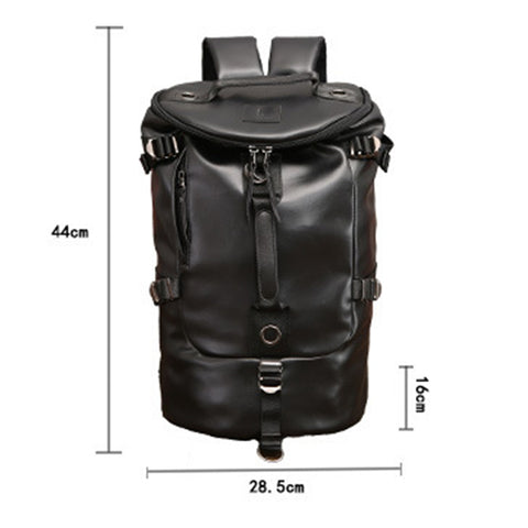 Casual Men Backpack Leather Travel Bag