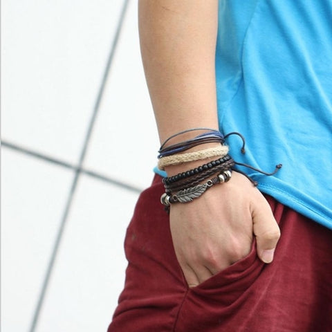 Image of New Men's Braided Leather Bracelets Stainless - Intrepid Soul