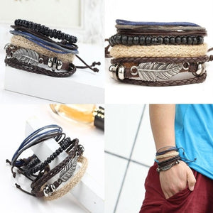 Men's Braided Leather Bracelets Stainless