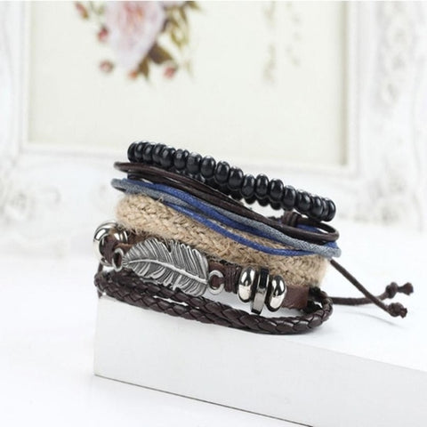 New Men's Braided Leather Bracelets Stainless - Intrepid Soul