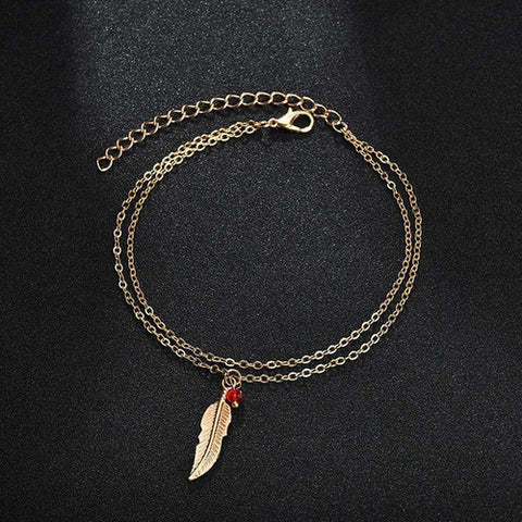 Double Chain Leaf Anklet Jewelry - Intrepid Soul