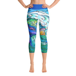 Wave Riding Dolphins Yoga Capri Leggings