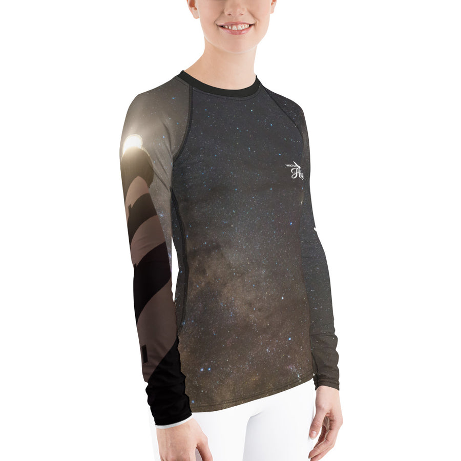 Milky Way Lighthouse Women's Rash Guard