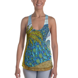 Wave and Palm Women's Racerback Tank: Signature Ladies
