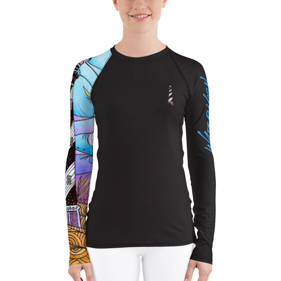 Hatteras Waves Ladies Rash Guard Signature