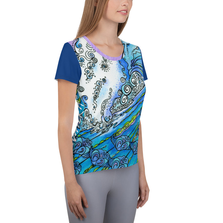 Ocean Life All-Over Print Women's Athletic T-shirt: Signature Ladies