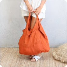 Load image into Gallery viewer, Burnt Orange Oversized Linen Tote Bag