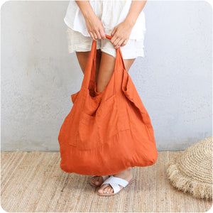 Burnt Orange Oversized Linen Tote Bag