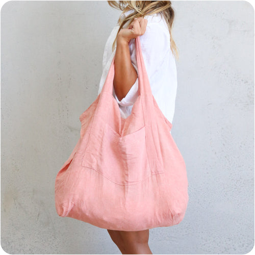 Rosé Oversized Linen Tote Bag