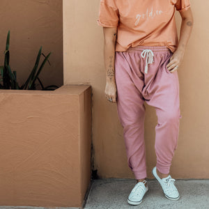 Terry Drop Crotch Pants - Mulberry