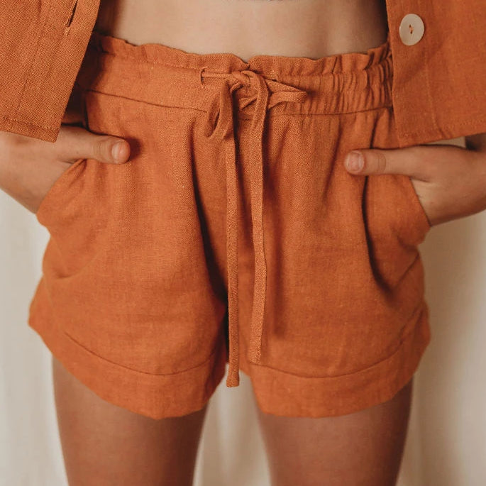 Mini Linen Lounge Shorts - Rust