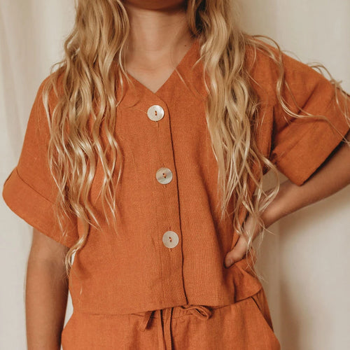 Mini Linen Lounge Shirt - Rust
