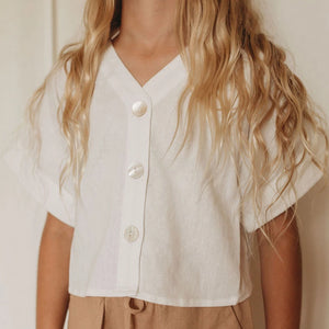 Mini Linen Lounge Shirt - Coconut