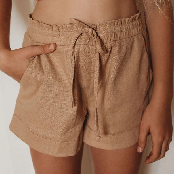Mini Linen Lounge Shorts - Biscuit