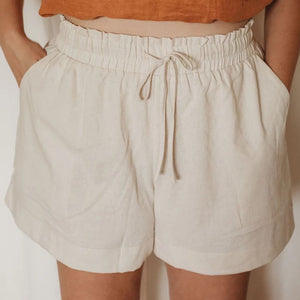 Linen Lounge Shorts - Oat