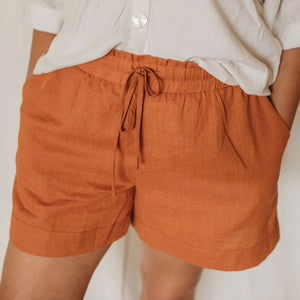 Linen Lounge Shorts - Rust