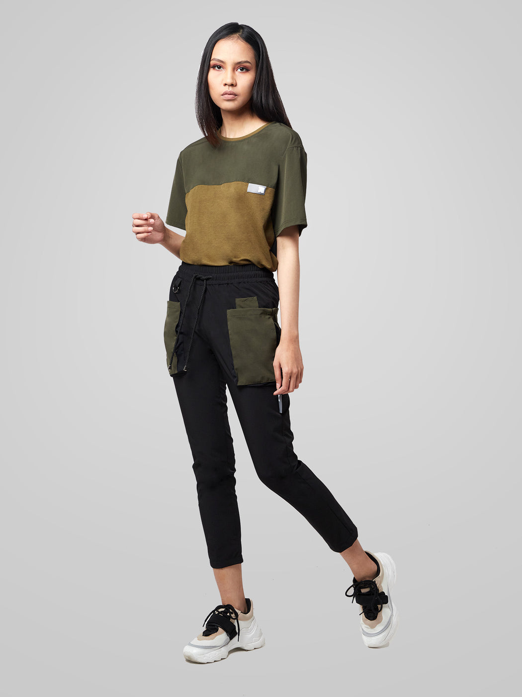 Military Green Utilitarian Cargo Female Pants