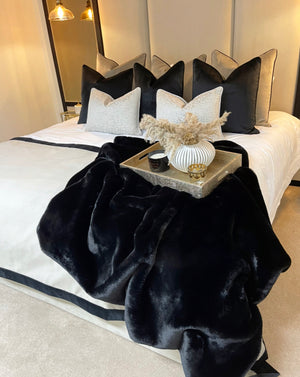 Black super luxury faux fur throw - LIMITED EDITION
