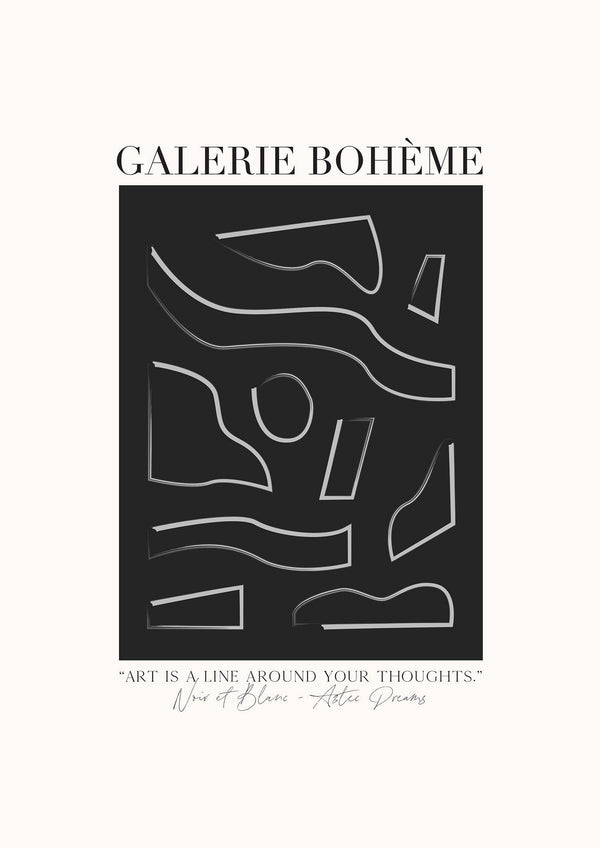 GALERIE BOHÈME - Aztec Dreams Black - Exhibition Poster