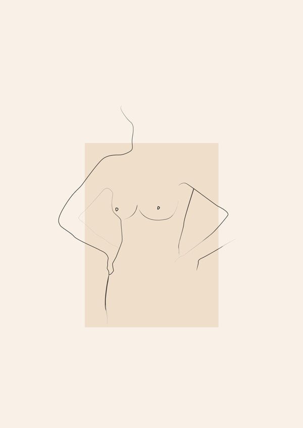 Wall Art Print - Lady 3 Nude Illustration Poster