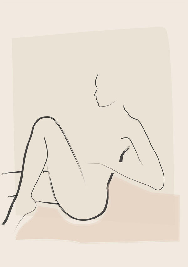 Lounger - Minimal Line Drawing - Nude Art