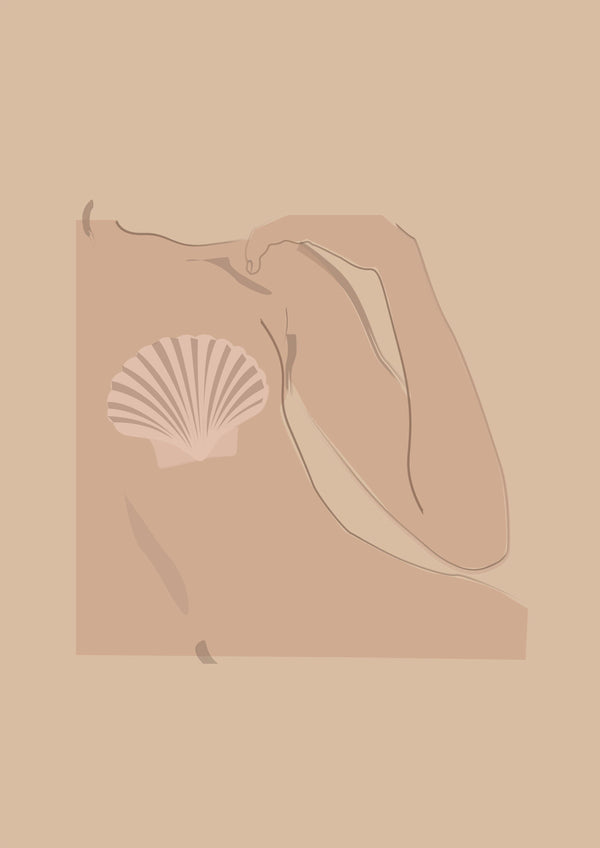 Nude Illustration - Mermaid - Sea Shell Print