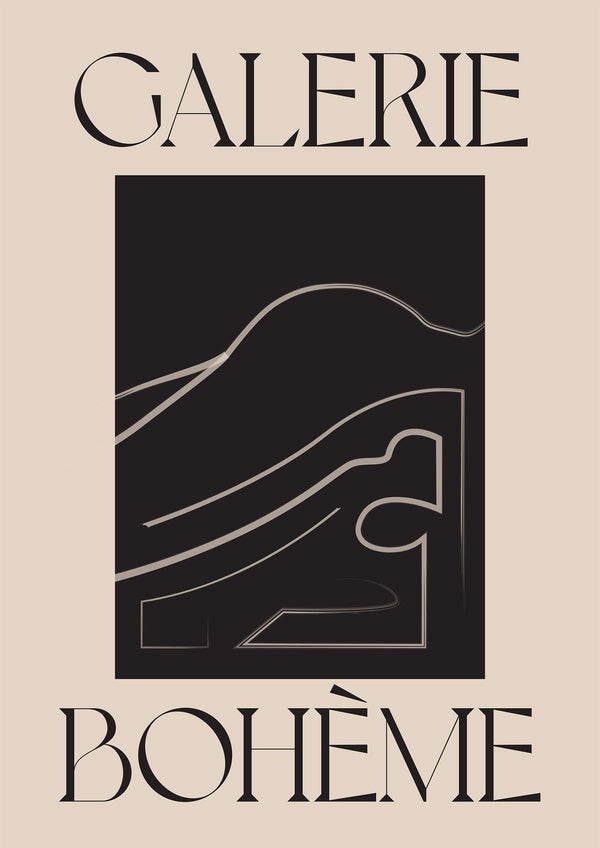 GALERIE BOHEME - Beige and Black - Boho Art