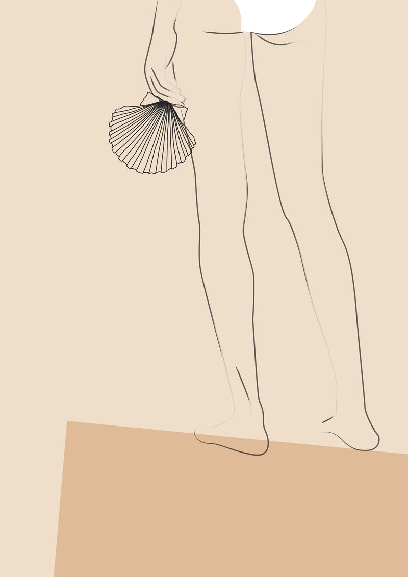 Flower Love Child - Bikini Line Art - Sea Shell