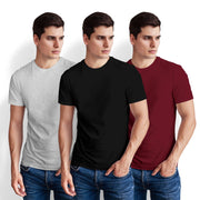 Men's Half Sleeve Tshirt - Pack of 3 (Black-Maroon-White Heather)