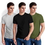 Men's Half Sleeve Tshirt - Pack of 3 (Black-Olive Green-White Heather)