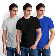 Men's Half Sleeve Tshirt - Pack of 3 (Black-Royal Blue-White Heather)