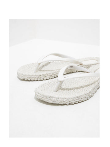 Ilse Jacobsen White Flip Flops With Glitter Thong