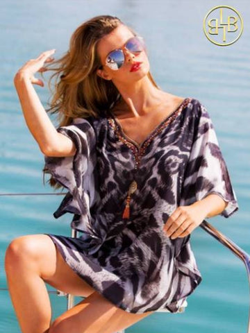 Lindsey Brown Animal Print Kaftan