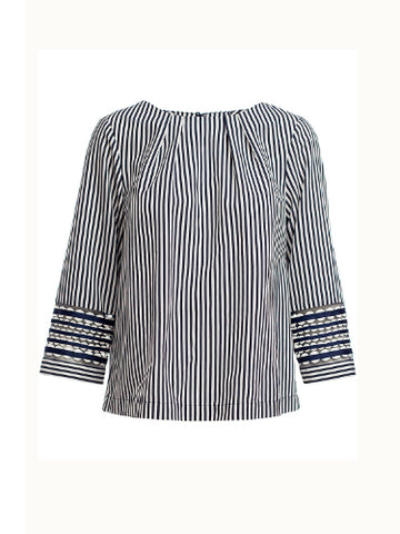 Marella Blue and White Stripe Top