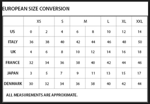 Womens Clothing International And European Size Guide Chart