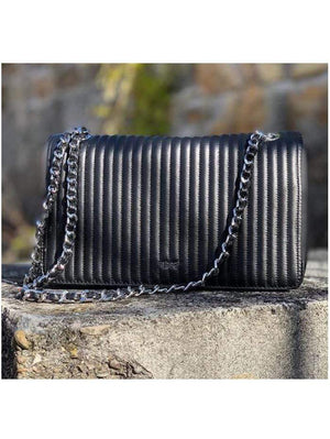 abro Handbags 1 Abro Black Silver Chain Quilted Bag 028657-57 izzi-of-baslow