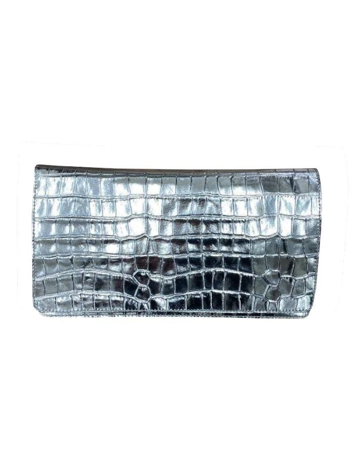 abro Handbags 1 Abro Metallic Silver Croc Clutch Bag 026951-21 0091 izzi-of-baslow